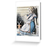 John Tenniel - The Pool Of Tears, Alice S Adventures In Wonderland. Girl portrait: cute girl, girly, female, pretty angel, child, beautiful dress, face with hairs, smile, little, kids, baby Greeting Card