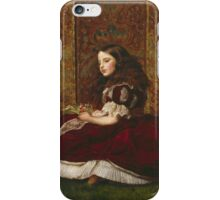 John Everett Millais - Leisure Hours. Girl portrait: cute girl, girly, female, pretty angel, child, beautiful dress, face with hairs, smile, little, kids, baby iPhone Case/Skin