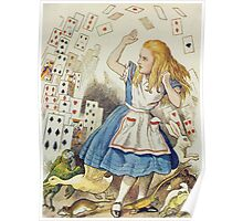 John Tenniel - The Shower Of Cards, Illustration From  Alice In Wonderland. Girl portrait: cute girl, girly, female, pretty angel, child, beautiful dress, face with hairs, smile, little, kids, baby Poster