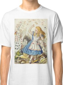 John Tenniel - The Shower Of Cards, Illustration From  Alice In Wonderland. Girl portrait: cute girl, girly, female, pretty angel, child, beautiful dress, face with hairs, smile, little, kids, baby Classic T-Shirt