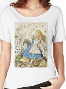 John Tenniel - The Shower Of Cards, Illustration From  Alice In Wonderland. Girl portrait: cute girl, girly, female, pretty angel, child, beautiful dress, face with hairs, smile, little, kids, baby Women's Relaxed Fit T-Shirt