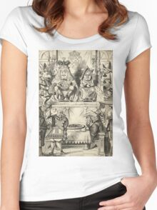 John Tenniel - The Trial Of The Knave Of Hearts, Alice Adventures In Wonderland. People portrait: party, people, family, female and male, peasants, crowd, romance, women and men, city, home society Women's Fitted Scoop T-Shirt