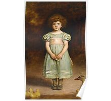 John Everett Millais - Ducklings 1889. Female child portrait: cute girl, girly, female, pretty angel, child, beautiful dress, face with hairs, smile, little, kids, baby Poster