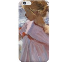 Joaquin Sorolla Y Bastida - Time For A Bathe, Valencia 1909. Mother with kid portrait: cute girl, mother and daughter, sea views, child, beautiful dress, lovely family, mothers day, memory,baby iPhone Case/Skin