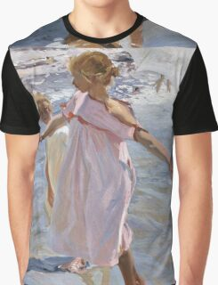 Joaquin Sorolla Y Bastida - Time For A Bathe, Valencia 1909. Mother with kid portrait: cute girl, mother and daughter, sea views, child, beautiful dress, lovely family, mothers day, memory,baby Graphic T-Shirt