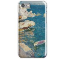 Joaquin Sorolla Y Bastida - Rocks At Javea. The White Boat 1905. Mountains landscape: mountains, rocks, rocky nature, sky and clouds, Sea views, peak, forest, rustic, hill, sea, hillside iPhone Case/Skin