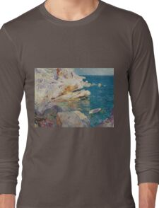 Joaquin Sorolla Y Bastida - Rocks At Javea. The White Boat 1905. Mountains landscape: mountains, rocks, rocky nature, sky and clouds, Sea views, peak, forest, rustic, hill, sea, hillside Long Sleeve T-Shirt