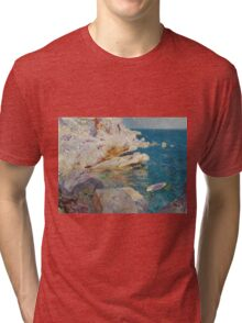Joaquin Sorolla Y Bastida - Rocks At Javea. The White Boat 1905. Mountains landscape: mountains, rocks, rocky nature, sky and clouds, Sea views, peak, forest, rustic, hill, sea, hillside Tri-blend T-Shirt