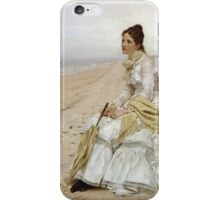 John George Brown - Waiting For William. Woman portrait: sensual woman, girly art, female style, pretty women, femine, beautiful dress, cute, creativity, love, sexy lady, erotic pose iPhone Case/Skin