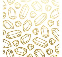 Gold and White Gemstone Pattern Photographic Print