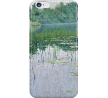John Leslie Breck - Grey Day On The Charles. Lake landscape: trees, river, land, forest, coast seaside, waves and beach, marine naval navy, lagoon reflection, sun and clouds, nautical panorama, lake iPhone Case/Skin