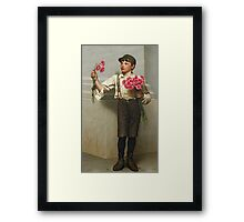 John George Brown - Three For Five 1890. Child portrait: cute baby, kid, children, pretty angel, child, kids, lovely family, boys and girls, boy and girl, mom mum mammy mam, childhood Framed Print