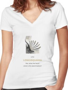 L is for Longisquama Women's Fitted V-Neck T-Shirt