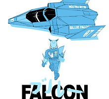The Legendary Blue Falcon (Monochromatic) by heyadoodles