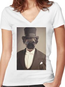 (Very) Distinguished Dog Women's Fitted V-Neck T-Shirt
