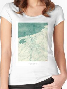 Tottori Map Blue Vintage Women's Fitted Scoop T-Shirt