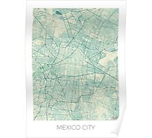 Mexico City Map Blue Vintage Poster