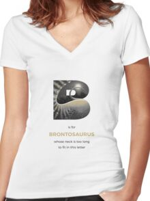 B is for Brontosaurus Women's Fitted V-Neck T-Shirt