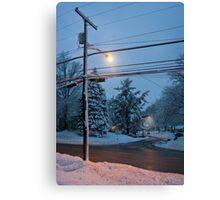 Winter Dusk Street Light  Canvas Print
