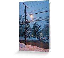 Winter Dusk Street Light  Greeting Card