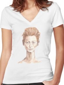 Tilda Red Head Face Portrait Drawing Women's Fitted V-Neck T-Shirt