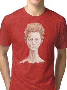 Tilda Red Head Face Portrait Drawing Tri-blend T-Shirt