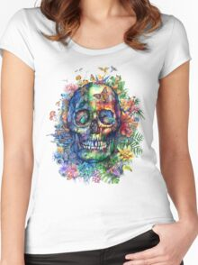 tropical skull Women's Fitted Scoop T-Shirt