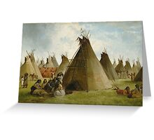 John Mix Stanley - Prairie Indian Encampment. People portrait: party, woman and man, people, family, female and male, peasants, crowd, romance, women and men, city, home society Greeting Card