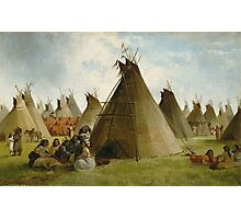 John Mix Stanley - Prairie Indian Encampment. People portrait: party, woman and man, people, family, female and male, peasants, crowd, romance, women and men, city, home society Photographic Print