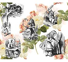 Alice in Wonderland ink Roses Photographic Print
