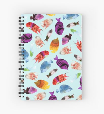 Fish shaped Flowers Spiral Notebook