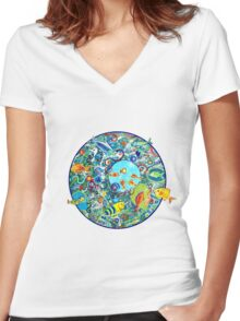 Fish Party Women's Fitted V-Neck T-Shirt