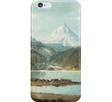 John Mix Stanley - Mountain Landscape With Indians. Mountains landscape: mountains, rocks, rocky nature, sky and clouds, trees, peak, forest, rustic, hill, travel, hillside iPhone Case/Skin