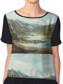 John Mix Stanley - Mountain Landscape With Indians. Mountains landscape: mountains, rocks, rocky nature, sky and clouds, trees, peak, forest, rustic, hill, travel, hillside Chiffon Top