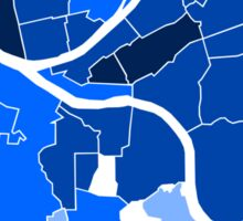 Pittsburgh Neighborhood Map Blue Sticker