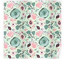 Vintage pastel flowers pattern Poster