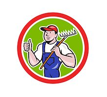 Gardener Farmer Holding Rake Thumbs Up Cartoon by patrimonio