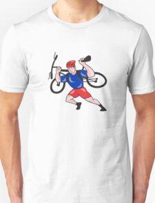 Cyclist Carry Mountain Bike on Shoulders Cartoon Unisex T-Shirt