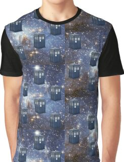 Vintage Blue Police Box in Stars Graphic T-Shirt