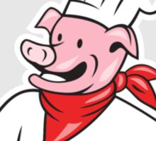 Pig Chef Cook Holding Spatula Circle Cartoon Sticker