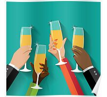 Champagne Toast Flat design Poster
