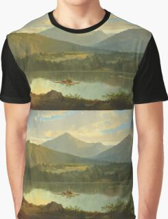 John Mix Stanley - Western Landscape. Lake landscape: trees, river, land, forest, coast seaside, waves and beach, marine naval navy, lagoon reflection, sun and clouds, nautical panorama, lake Graphic T-Shirt