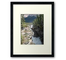 Mountains, River, Waterfall, Jasper National Park, Canada Framed Print