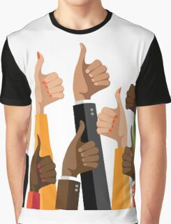 Flat design multicultural group thumbs up Graphic T-Shirt