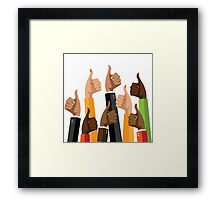 Flat design multicultural group thumbs up Framed Print