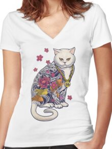 Mob Cat  Women's Fitted V-Neck T-Shirt