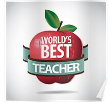 World's Best teacher apple icon Poster
