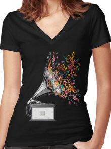 Music for my ears retro style Women's Fitted V-Neck T-Shirt