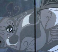 Grey White Graffiti Fish Sticker