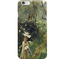 John Singer Sargent - Gathering Flowers At Twilight. Garden landscape: garden view, trees flowers, blossom, nature, botanical park, floral flora, wonderful flowers, plants, cute plant, garden, flower iPhone Case/Skin